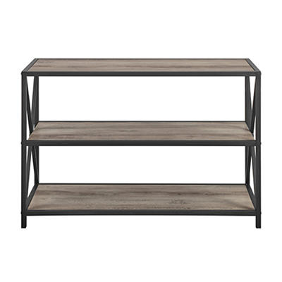 "W. Trends Industrial 40"" Media Console Table Storage Bookcase - Gray W"