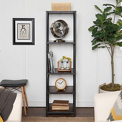 "W. Trends Industrial 60"" Media Storage Bookcase - Dark Walnut"