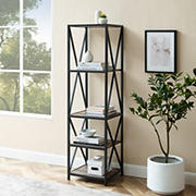 "W. Trends Industrial 60"" Media Storage Bookcase - Gray Wash"