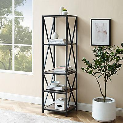 "W. Trends Industrial 60"" Media Storage Bookcase - Gray Wash"