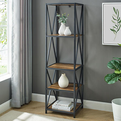 "W. Trends Industrial 60"" Media Storage Bookcase - Rustic Oak"