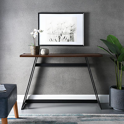 "W. Trends Farmhouse 46"" Sofa Console Entryway Table - Dark Walnut"