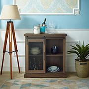 "W. Trends Farmhouse 32"" Sliding Door Accent Storage Cabinet - Dark Walnut"