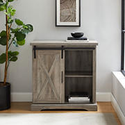 "W. Trends Farmhouse 32"" Sliding Door Accent Storage Cabinet - Gray Wash"
