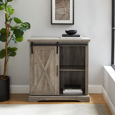 "W. Trends Farmhouse 32"" Sliding Door Accent Storage Cabinet - Gray Was"
