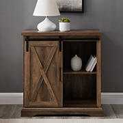 "W. Trends Farmhouse 32"" Sliding Door Accent Storage Cabinet - Rustic Oak"