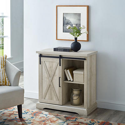 "W. Trends Farmhouse 32"" Sliding Door Accent Storage Cabinet - White Oa"