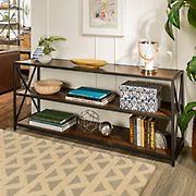 "W. Trends Industrial 60"" Media Console Table Storage Bookcase - Dark Walnut"