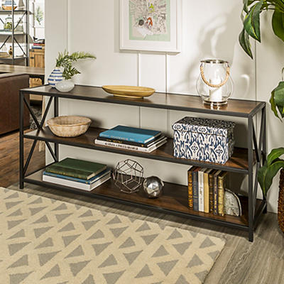 "W. Trends Industrial 60"" Media Console Table Storage Bookcase - Dark Walnut"
