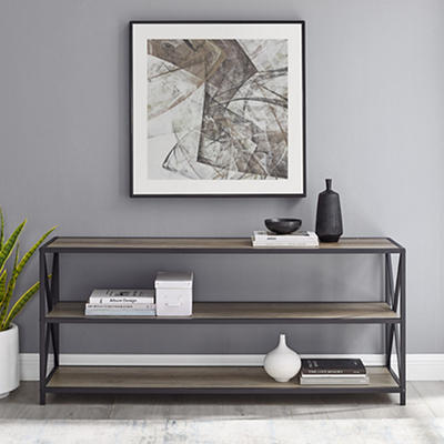 """W. Trends Industrial 60"""" Media Console Table Storage Bookcase - Gray W"""