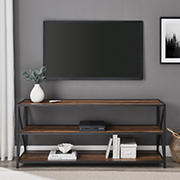 "W. Trends Industrial 60"" Media Console Table Storage Bookcase - Rustic Oak"