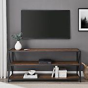 "W. Trends Industrial 60"" Media Console Table Storage Bookcase - Rustic Oak"
