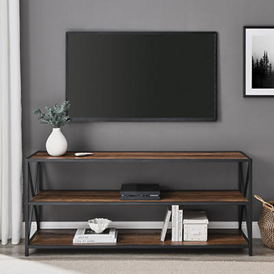"""W. Trends Industrial 60"""" Media Console Table Storage Bookcase - Rustic"""