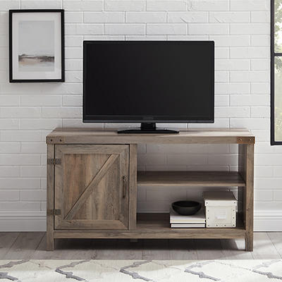 "W. Trends Barndoor 44"" Wood Media TV Stand Console - Gray Wash"