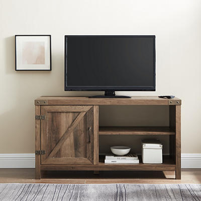 "W. Trends Barndoor 44"" Wood Media TV Stand Console - Rustic Oak"