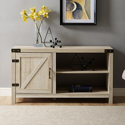 "W. Trends Barndoor 44"" Wood Media TV Stand Console - White Oak"
