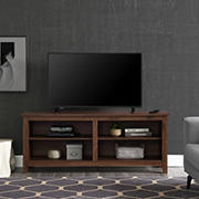 "W. Trends 58"" Rustic Open TV Stand or TVs up to 65"" - Grey Wash"