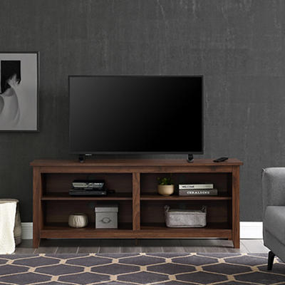 "W. Trends 58"" Wood Media TV Stand Console - Dark Walnut"