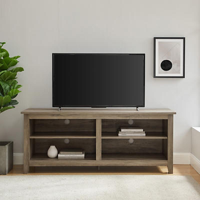 "W. Trends 58"" Wood Media TV Stand Console - Gray Wash"