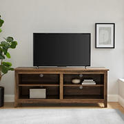 """W. Trends 58"""" Wood Media TV Stand Console for TVs Up to 65"""" - Rustic Oak"""