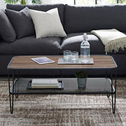 "W. Trends Mid-Century 42"" Hair Pin Coffee Table - Dark Walnut"