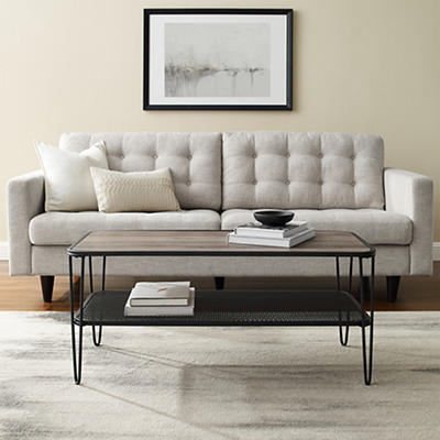 "W. Trends Mid-Century 42"" Hair Pin Coffee Table - Gray Wash"
