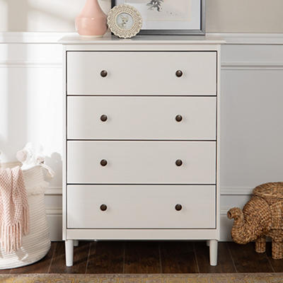 W. Trends 4 Drawer Solid Wood Youth Dresser - White