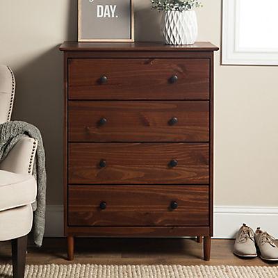 W. Trends 4 Drawer Solid Wood Youth Dresser - Walnut