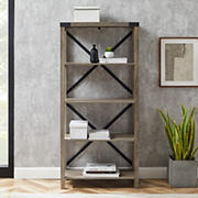 "W. Trends Farmhouse 64"" Wood Media Bookcase - Gray Wash"