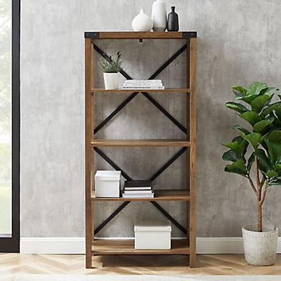 "W. Trends Farmhouse 64"" Wood Media Bookcase - Rustic Oak"