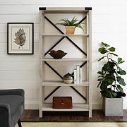 "W. Trends Farmhouse 64"" Wood Media Bookcase - White Oak"