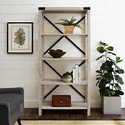 "W. Trends Farmhouse 64"" Wood Media Bookcase - White Oak"