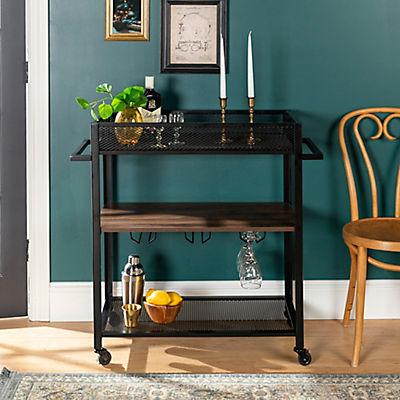 """W. Trends Industrial 36"""" Kitchen Bar Drink Rolling Cart - Dark Walnut"""
