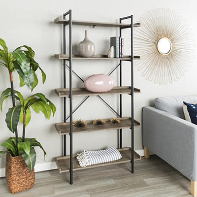"""W. Trends Piping 38"""" Wood Media Storage Bookcase - Driftwood"""