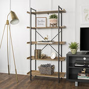 "W. Trends Piping 38"" Wood Media Storage Bookcase - Barnwood"