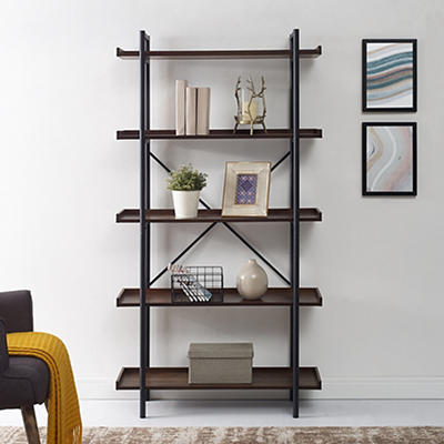 "W. Trends Piping 38"" Wood Media Storage Bookcase - Dark Walnut"