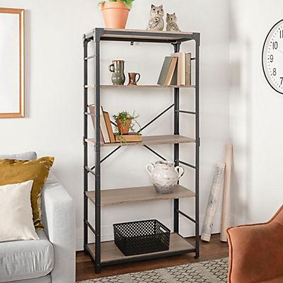 "W. Trends Farmhouse 64"" Wood Media Storage Bookcase - Driftwood"