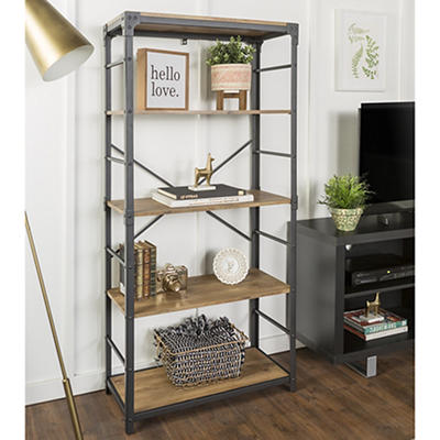 "W. Trends Farmhouse 64"" Wood Media Storage Bookcase - Barnwood"