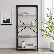 "W. Trends Farmhouse 64"" Wood Media Storage Bookcase - Gray Wash"
