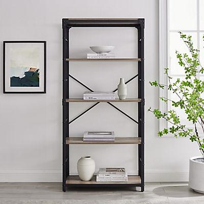 "W. Trends Farmhouse 64"" Wood Media Storage Bookcase - Gray Wash"