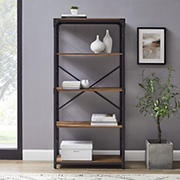 "W. Trends Farmhouse 64"" Wood Media Storage Bookcase - Rustic Oak"