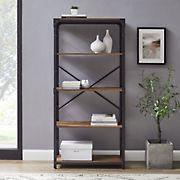 "W. Trends Farmhouse 64"" Wood Media Storage Bookcase - Rustic Oak"