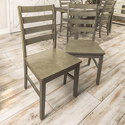 W. Trends Ladder Back Solid Wood Dining Chairs, Set of 2 - Gray