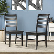 W. Trends Ladder Back Solid Wood Dining Chairs, Set of 2 - Black