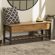 "W. Trends Farmhouse 48"" Lift Top Storage Entryway Bench - Barnwood"