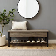 "W. Trends Farmhouse 48"" Lift Top Storage Entryway Bench - Gray Wash"