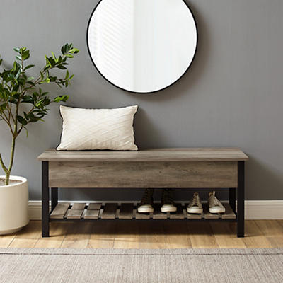 """W. Trends Farmhouse 48"""" Lift Top Storage Entryway Bench - Gray Wash"""