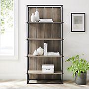 "W. Trends Shiplap 64"" Wood Media Storage Bookcase - Gray Wash"