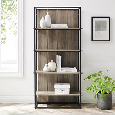 "W. Trends Shiplap 64"" Wood Media Storage Bookcase - Gray Wash"
