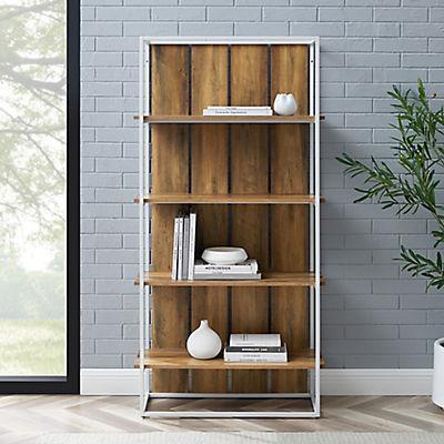 "W. Trends Shiplap 64"" Wood Media Storage Bookcase - Rustic Oak"